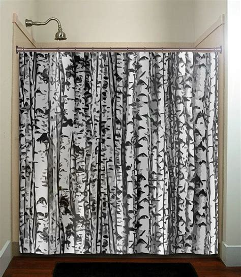 birch tree curtains trunk forest white birch trees shower curtain bathroom