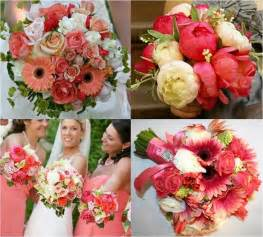 coral colored flowers bonnieprojects wedding bouquets on a budget