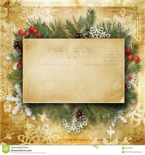 vintage christmas background   postcard branches  hol stock photo image