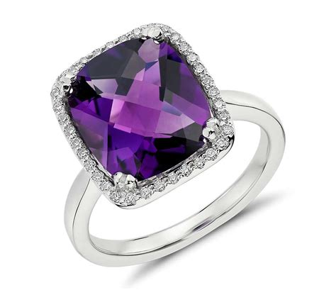 amethyst and halo cushion cut ring in 14k white