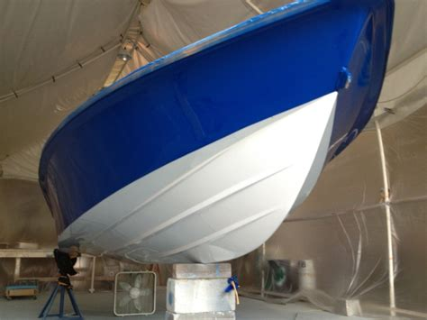 boat marine paint shop new awlcraft paint job navy blue and snow white on a
