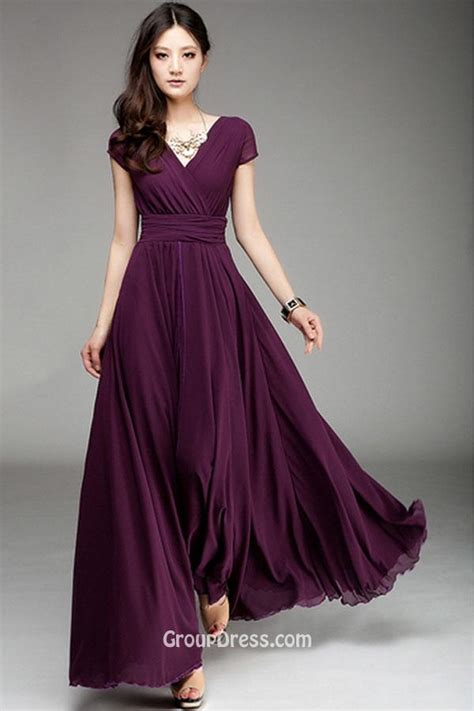 V neck Simple Purple Short Sleeve Ruffled Long Chiffon