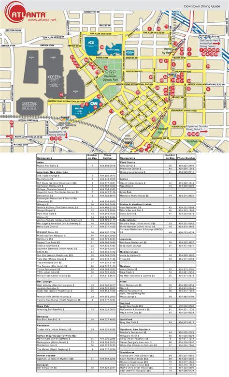 atlanta city usa map atlanta restaurant map