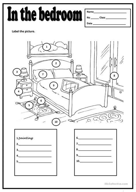 my house printable activities in the bedroom worksheet free esl printable worksheets