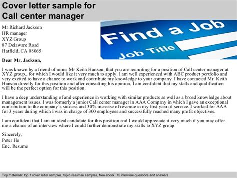 cover letter for call center manager call center manager cover letter