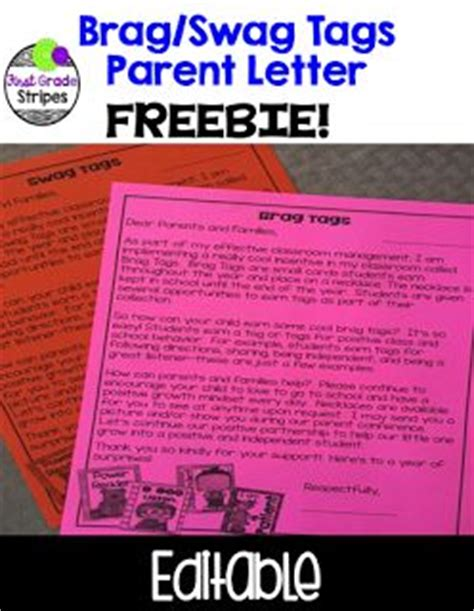 Parent Letter Explaining Class Free Letter To Parents Explaining Brag Swag Tags In The Classroom My Tpt Products