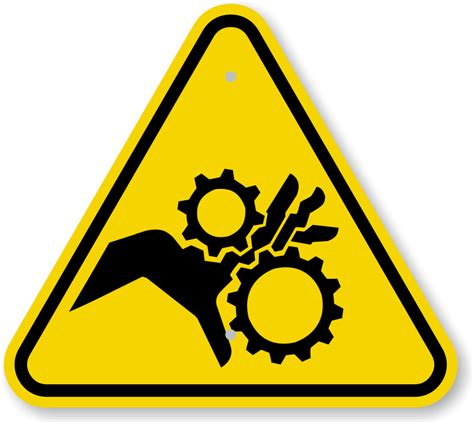 iso moving parts can crush pinch point warning sign symbol