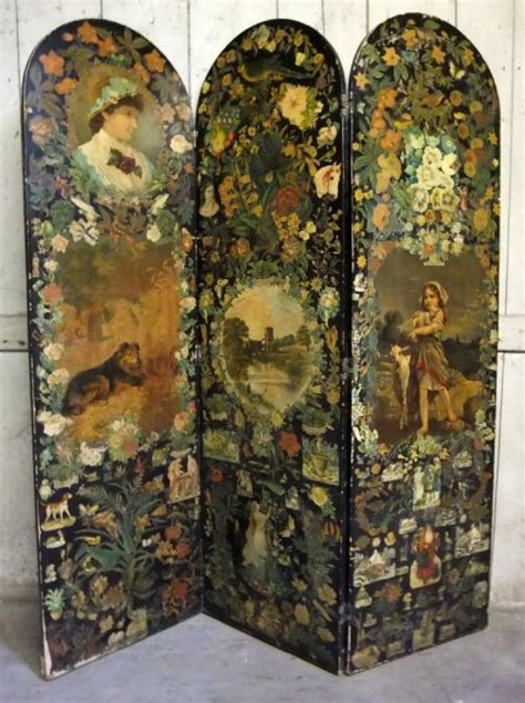 Decoupage Screen - antique decoupage scrap screen 201892