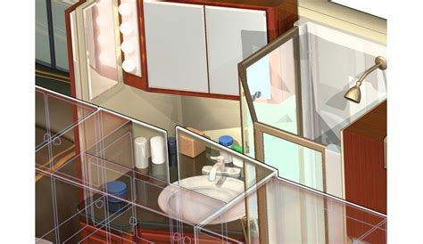 bathtub cutaway 3d rv motorhome cutaway bath deatail 169 acme 3d com