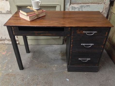 Ranch Oak Desk by Vintage Black Desk Solid Wood Painted Furniture Ranch
