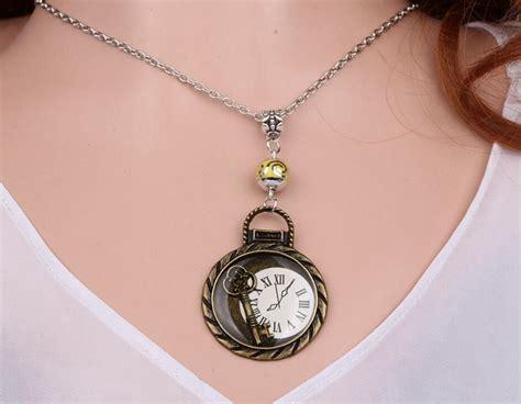 Pendant Statement Necklace Earrings Accessories key necklace pendant vintage bronze charm choker collar acrylic bead statement necklace