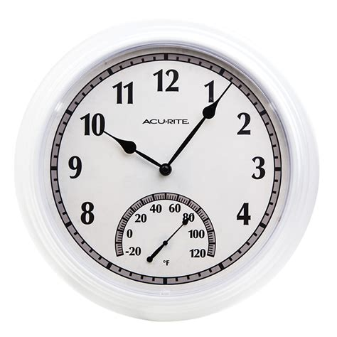 Patio Clocks Outdoor Thermometer by 14 Inch White Outdoor Clock With Thermometer Acurite