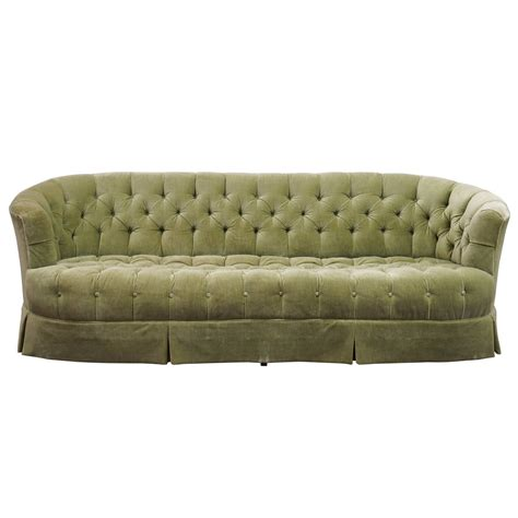 Hollywood Regency Chesterfield Mint Green Velvet Tufted Green Chesterfield Sofa For Sale