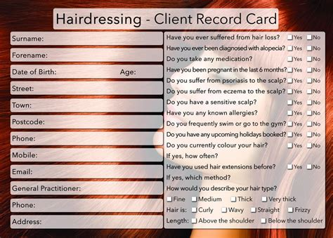 hairdressing client record card template client card treatment consultation card