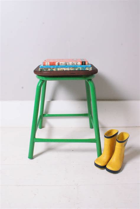 children s vintage green metal legged stool with wooden