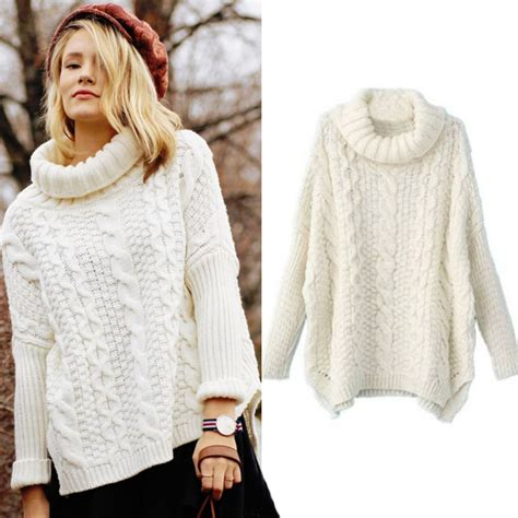 white cable knit sweater womens popular chunky cable knit sweaters for aliexpress