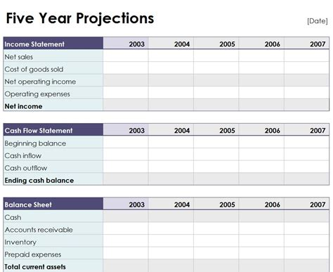 5 year flow projection template five year projection worksheet 5 year projection worksheet