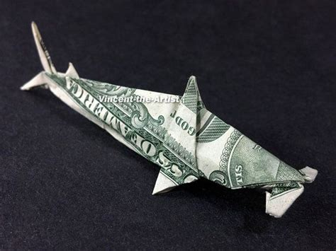 Dollar Origami Shark - hammerhead shark dollar origami sea fish animal made of