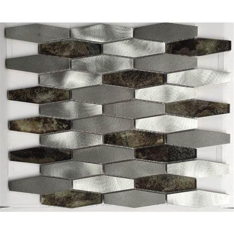 Chenx 11 81 In X 13 97 In Aluminum And Glass Mosaic Home Depot Mosaic Backsplash