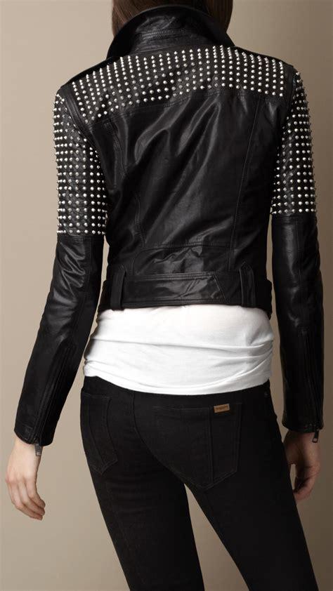 lyst burberry brit studded leather biker jacket  black