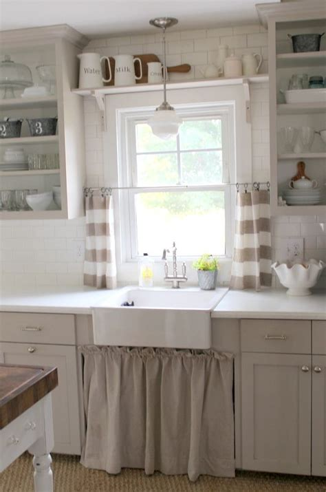 open shelving under cabinets kitchen pinterest open love the open shelving cabinet curtain under the sink