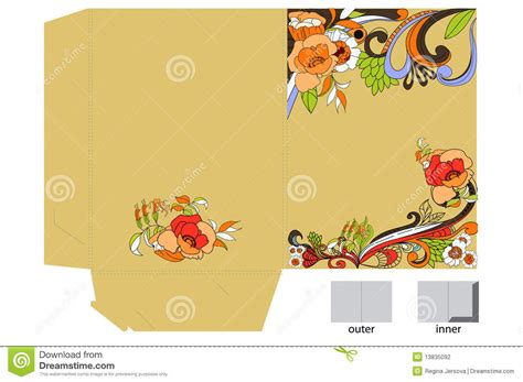 Greeting Card Folder Template by Decorative Template For Folder Design Stock Photography