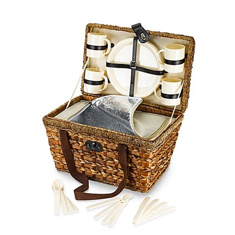 bed bath and beyond gift baskets bamboo 21 piece insulated picnic basket bed bath beyond