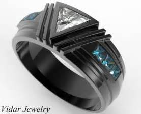 Black Gold Triangle Diamond Wedding Ring For A Men   Vidar
