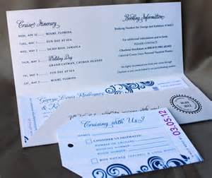blue swirl with fuchsia accents cruise boarding pass wedding invitations emdotzee designs