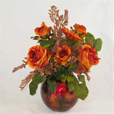 Orange Artificial Flowers In Vase by Silk Flower Arrangements Flower Arrangements And Silk