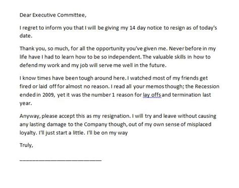 two weeks notice letter 2 week resignation example 40 letters