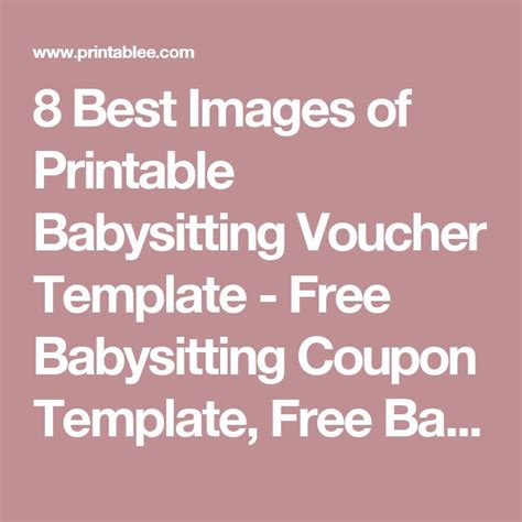 babysitting voucher template free 8 best images of printable babysitting voucher template