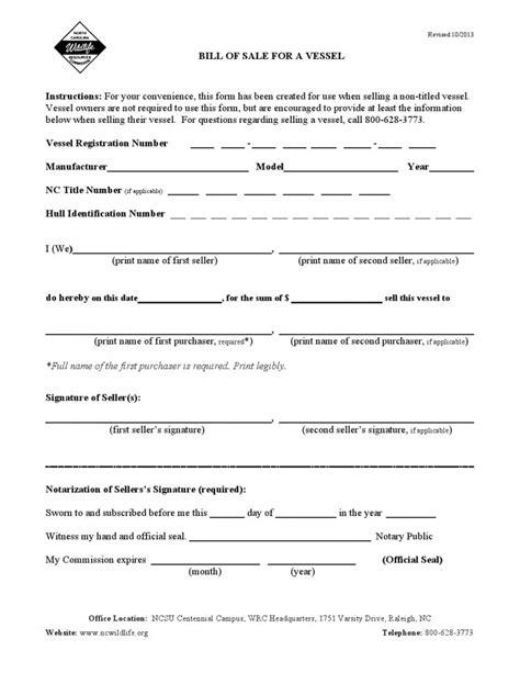 Free North Carolina Vessel Bill Of Sale Form Download Pdf Word Bill Of Sale Form Nc Template