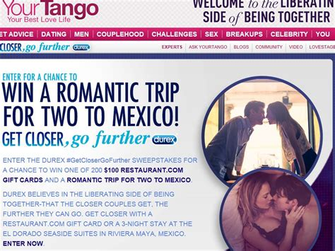 Closer Sweepstakes - durex yourtango get closer go further sweepstakes