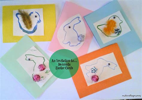 Kids Gift Card - an invitation to decorate easter cards for kids