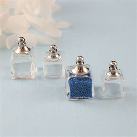 Anting Vintage Droplets Blue Gem Korean Style Casual cellphone decoration glass perfume bottle cubic zirconia rings vial pendant belly rings
