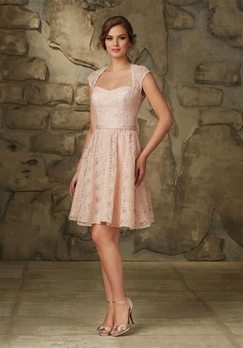 Lace Bridesmaid Dress by Lace Morilee Bridesmaid Dress With Cap Sleeves