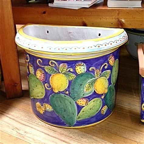 small flatback planter lemons cactus italian pottery