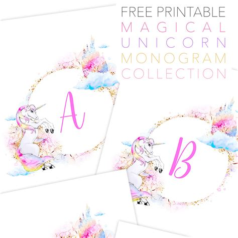 printable free pictures free printable magical unicorn monogram collection the