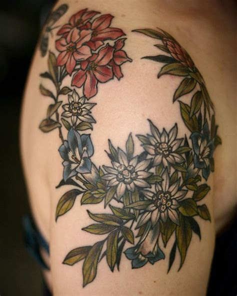 rose wreath tattoo alpine flower shoulder wreath for nadine thanks