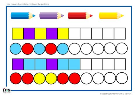 repeating patterns with 2 colours 4 worksheet activities repeating pattern sequences by tesearlyyears teaching