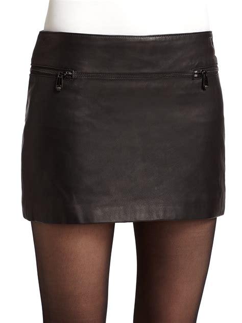 andrew marc leather mini skirt in black lyst