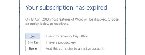 Office 365 Your Subscription Has Expired How To Extend Your Office 2013 Subscription To 180 Days