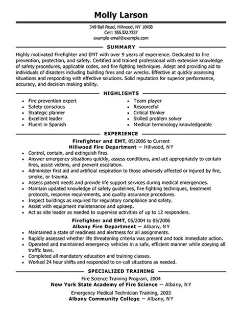 Best Firefighter Resume Exle Livecareer Firefighter Resumes Templates
