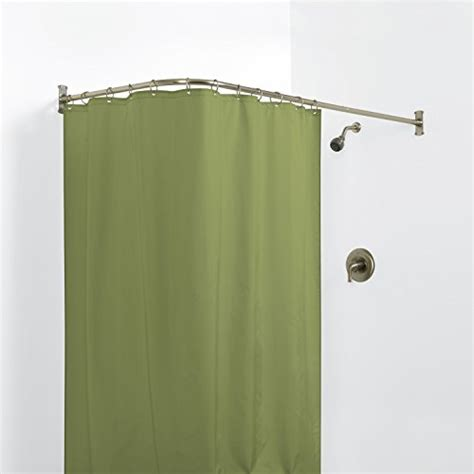 corner bathtub shower curtain rod zenna home 33941bn neverrust aluminum quot l quot shaped corner