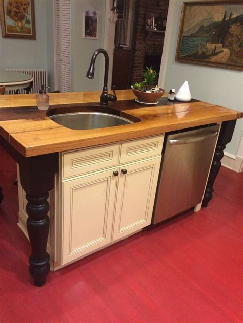 wood top kitchen island this custom wood top kitchen island with sink and