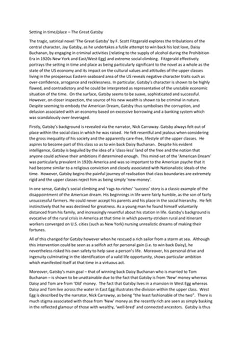 The Great Gatsby Literary Criticism Essay by Great Gatsby Sle Essay With Student Response By Uk Teaching Resources Tes