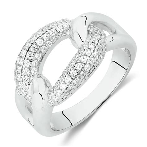 loop link ring with cubic zirconia in sterling silver