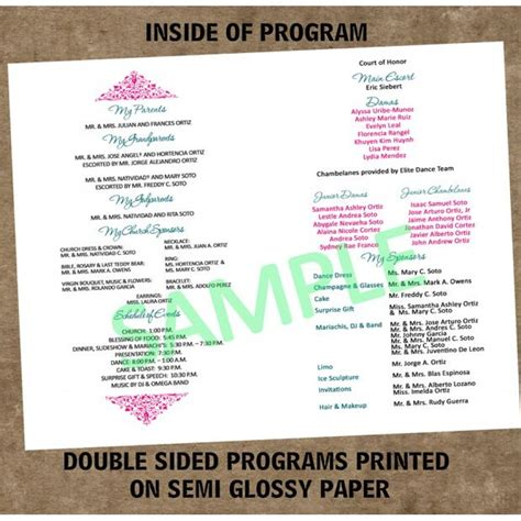 quinceanera program templates quinceanera program templates teal quinceanera program