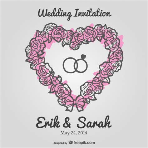 Wedding floral heart vector invitation Vector   Free Download